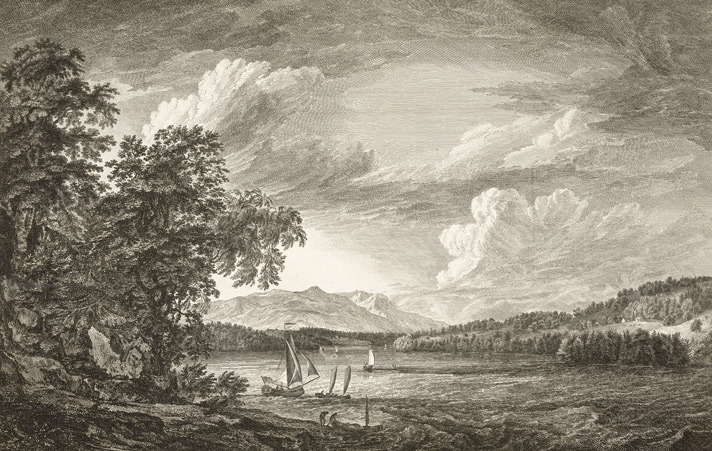 A View in Hudson's River of Pakepsey and the Catts Kill Mountains